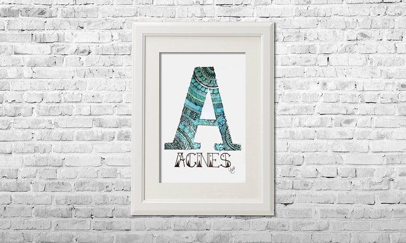 YOUST watercolour artwork with ocean vibes in lustrous turquoise and dreamy greens with beachy references as welcome gift for surfergirl AGNES