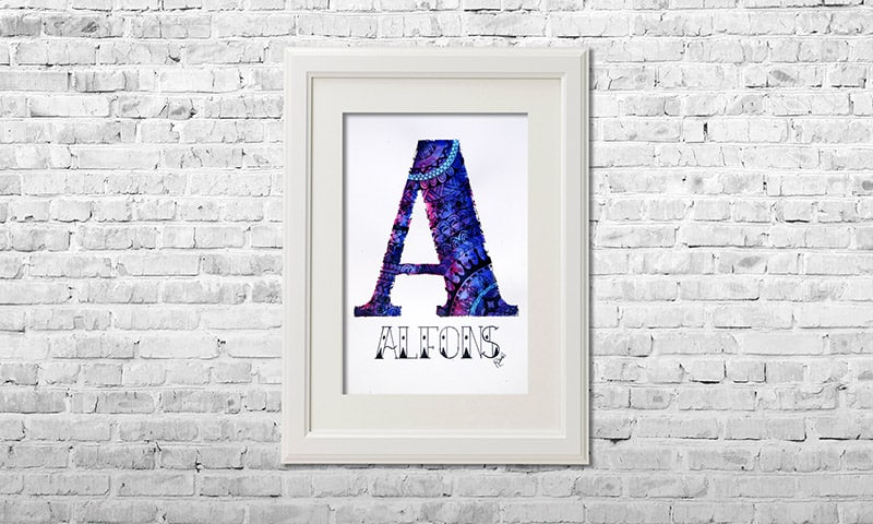 YOUST watercolour artwork with a royaly touch in bright purple tones and rich blue hues as a thank you present for ALFONS