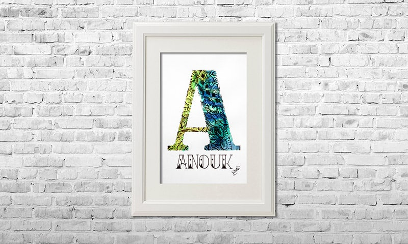 YOUST watercolour artwork with a vivid touch in light green and vibrant dark and light blues as welcome gift for baby sister ANOUK
