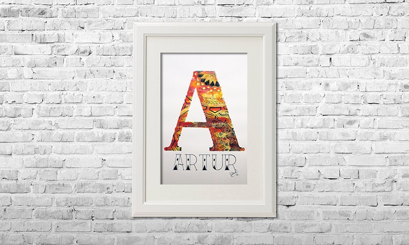 YOUST watercolour artwork with a fierce touch in bright red and vibrant yellow with an extra dose of love as birthday gift for party boy ARTUR