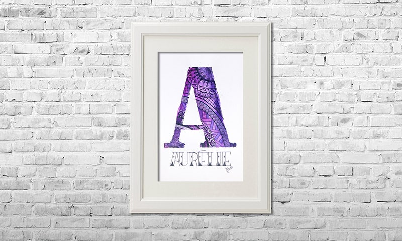 YOUST watercolour artwork with a lavendery spirit in light and dark purples with silver accents as a friendship gift for AURELIE