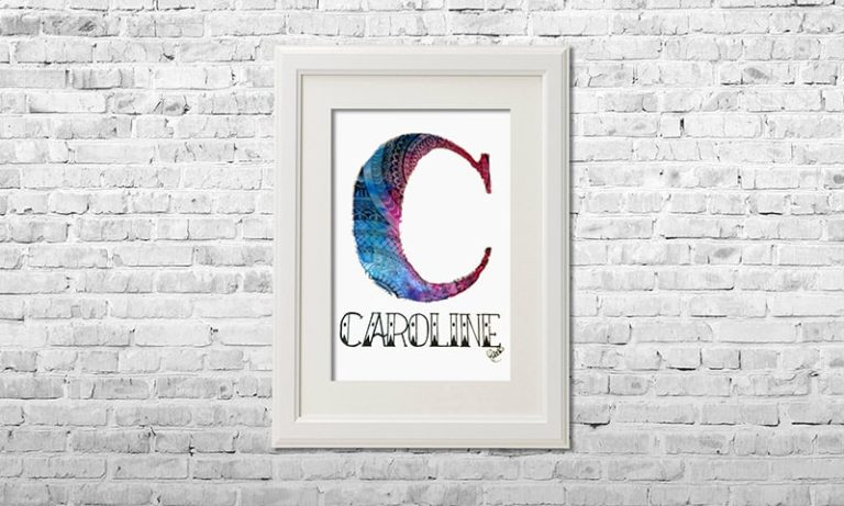 YOUST watercolour artwork with a bright vibe in dazzling cyan and joyful magenta tones as surprise gift for sweet, sweet CAROLINE