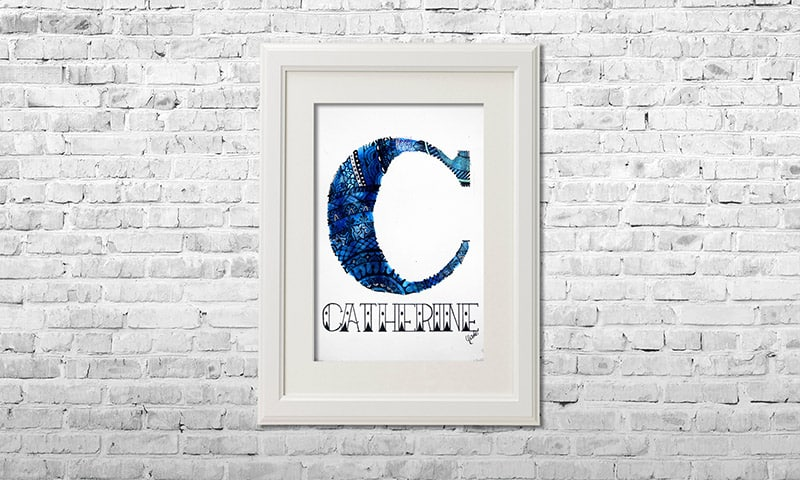 YOUST watercolour artwork with a relaxing feel in multiple shades of light and dark blue with added silver accents as christmas gift for CATHERINE