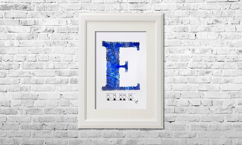 YOUST watercolour artwork with a vivid touch in bright royal blues and sea elements as a farewell gift for traveller ELINE
