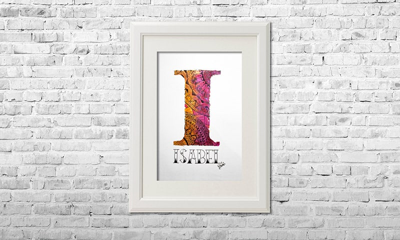 YOUST watercolour artwork with a vibrant vibe and a colour combo in vivid pink and radiant orange for bright soul yogagirl ISABEL