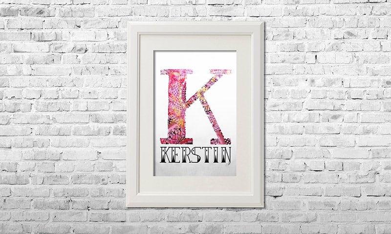 YOUST watercolour artwork with a bright feel in vivid pink with sailor details and golden pearlcolour accents for KERSTIN