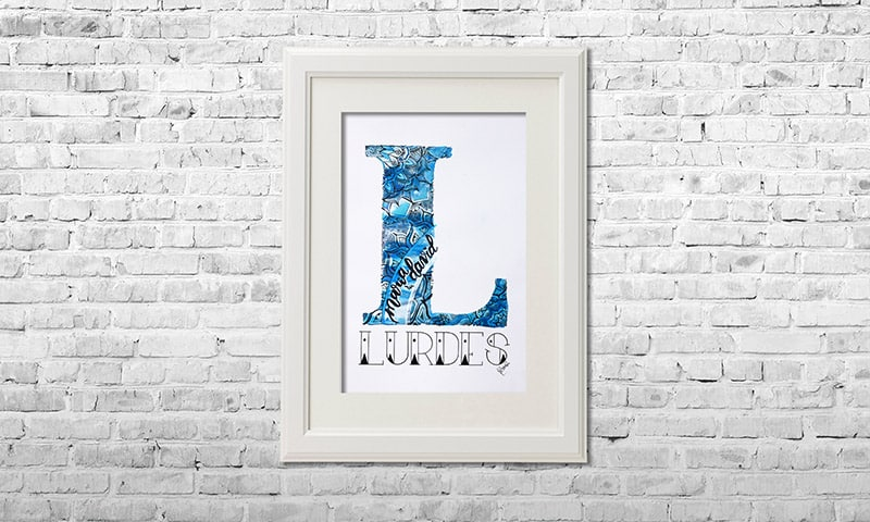 YOUST watercolour artwork with a special message in calm cyan and relaxing bluish coloured hues and silver accents for LURDES