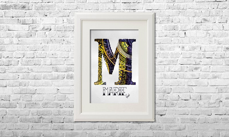 YOUST watercolour artwork with a pansy touch in deep purple and bright yellow with golden accents and flower details for MARIE