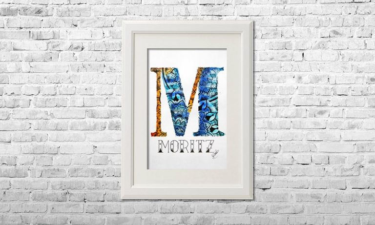 YOUST watercolour artwork with playful tiger stripes in light and dark blues and orange details for proud big brother MORITZ