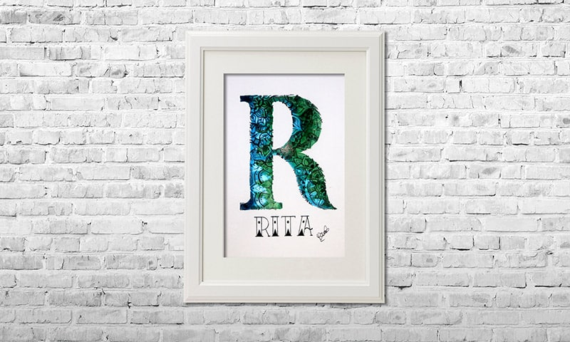YOUST watercolour artwork with forest vibes in dark greens and sky blue with flower details as a birthday present for RITA