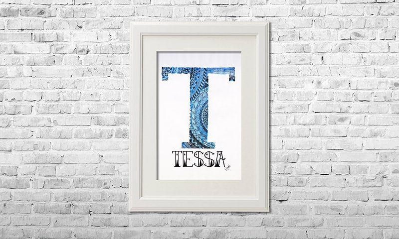 YOUST watercolour artwork with a easy breezy vibe in sky light and ultramarine blues with metallic cyan accents for surfergirl TESSA