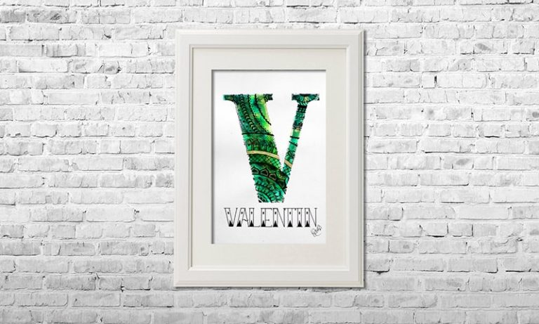 YOUST watercolour artwork with a jungle vibe in bright palm tree greens and golden accents for little monkey boy VALENTIN
